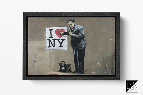 I Love New York stampa Banksy canvas con cornice su ecopelle