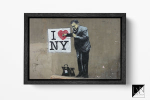 I Love New York by Banksy Wall Art | Leather Print | Floating Frame | Made in Italy