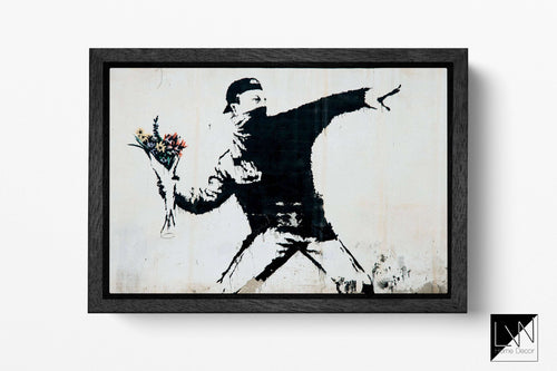 Rage, Flower Thrower Banksy Wall Art | Leather Print | Floating Frame | Made in Italy