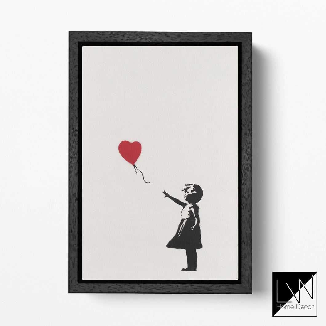 Girl With a Balloon by Banksy Framed Canvas Leather Print - CUSTOM SIZE FOR DANA