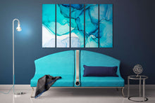 Load image into Gallery viewer, Light blue shades marble pattern framed canvas leather print | Large wall art | Large wall decor | Made in Italy | Luxury home decor
