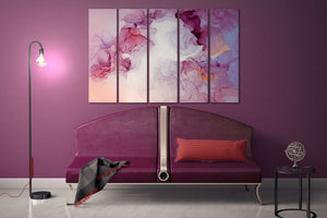 Pink and violet tones marble pattern framed canvas leather print | Large wall art | Large wall decor | Made in Italy | Luxury home decor