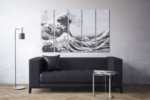 [canvas wall art] black and white wave