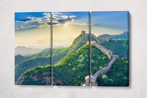 3 Pieces The Great Wall of China Framed Canvas Leather Print