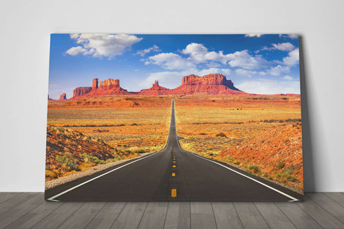 Monument Valley Road, Arizona, USA Framed Canvas Leather Print
