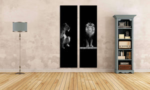 Lion and Lioness Portrait Framed Canvas Print