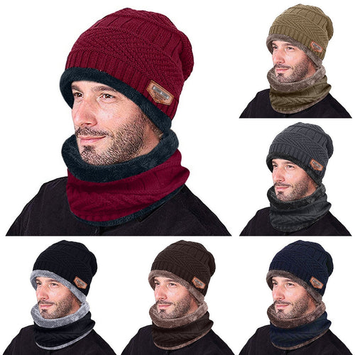 2 in 1 Fleece Winter Beanie Hat with Scarf
