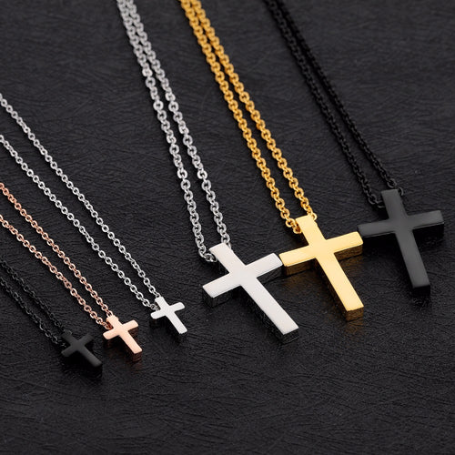 Tiny Cross Pendant Necklace in Stainless Steel