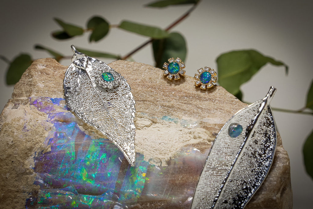 Opals on Leaf Jewellery - Leaf Brooches with Opal