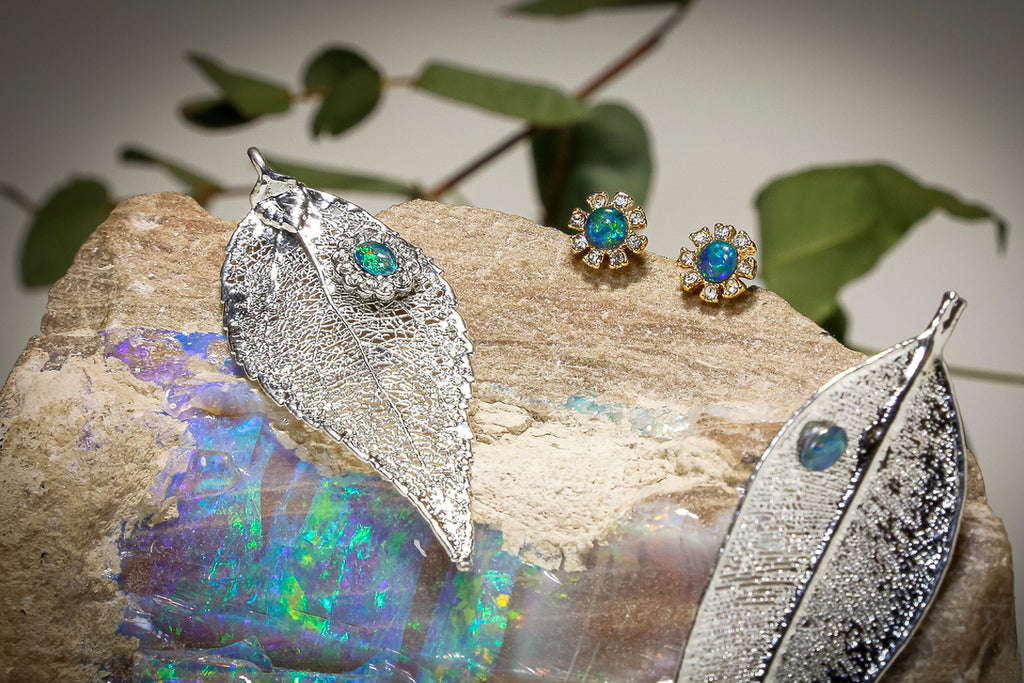 Opals on Leaf Jewellery - Leaf Brooch + Opal Earrings SETS
