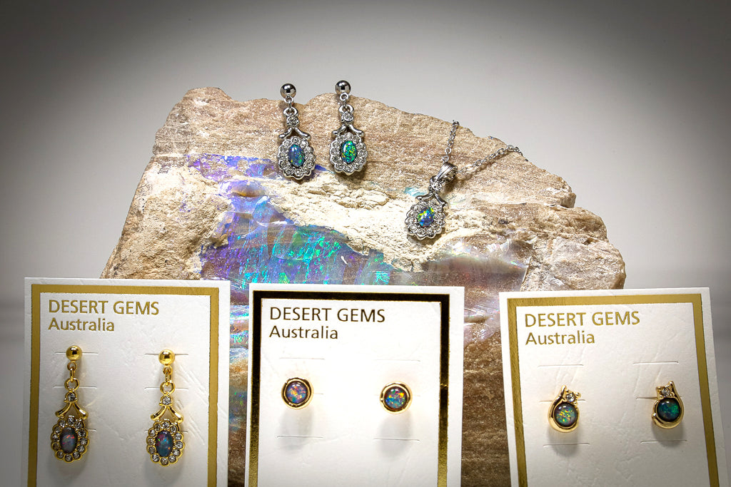 Opal Jewellery -  Gold Pendant + Opal Earrings SETS