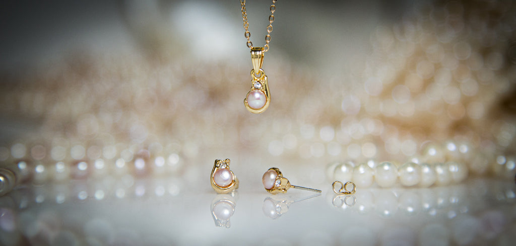 Pearl Jewellery - Gold Pendant + Pearl Earring SETS