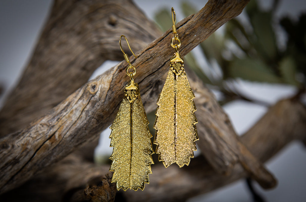 Banksia Leaf Gold Earrings