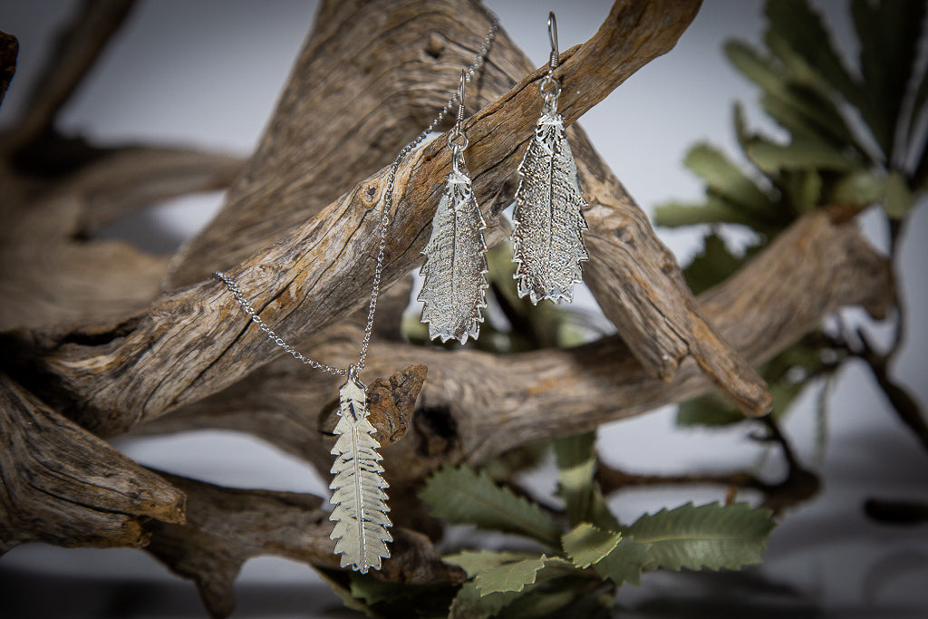 Silver Banksia Leaf Pendant & Earrings Set