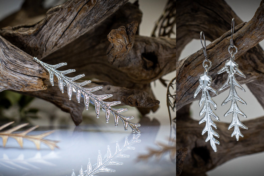 Silver Grevillea Leaf Brooch & Earrings Set