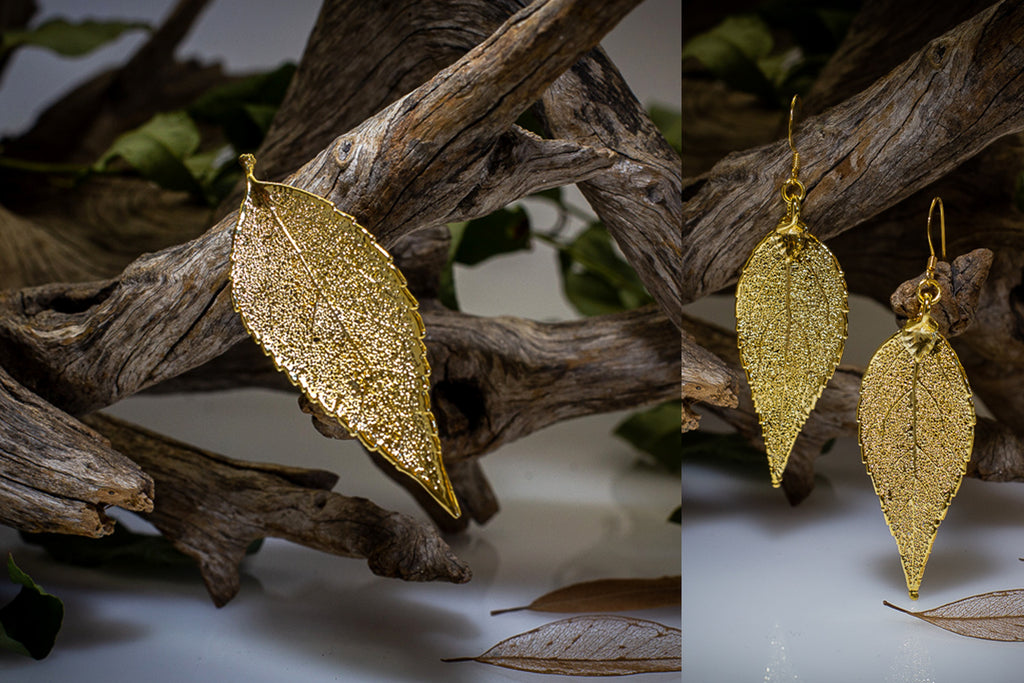Eucalyptus Leaf Gold Brooch & Earrings Set