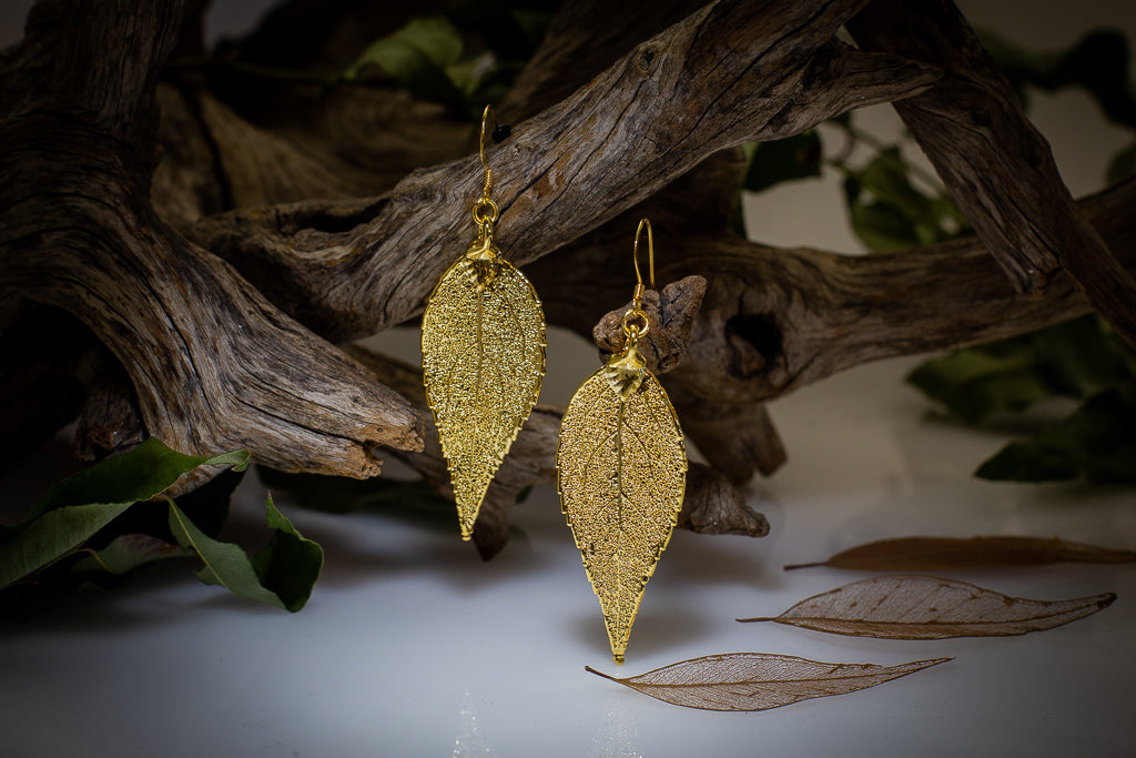 Gold Eucalyptus Leaf Pendant & Earrings Set