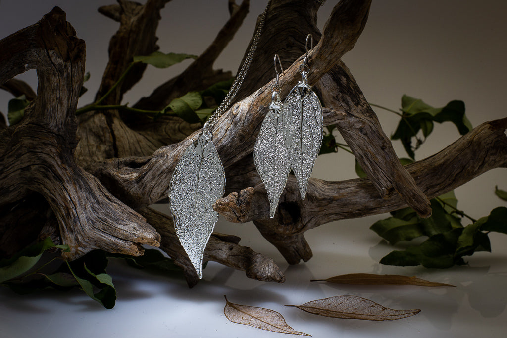 Silver Eucalyptus Leaf Pendant & Earrings Set