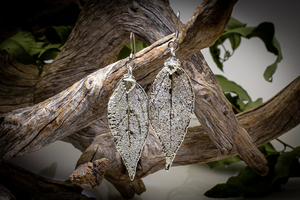 Eucalyptus Leaf Silver Brooch & Earrings Set