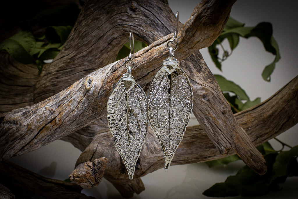 Eucalyptus Leaf Silver Pendant & Earrings Set