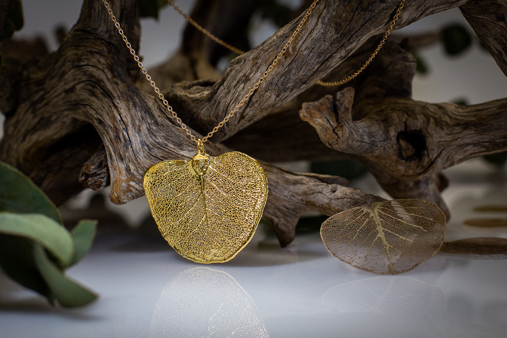 Apple Gum Eucalyptus Leaf Gold Pendant
