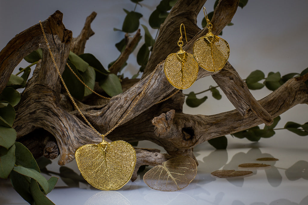Gold Apple Gum Eucalyptus Leaf Pendant & Earrings Set