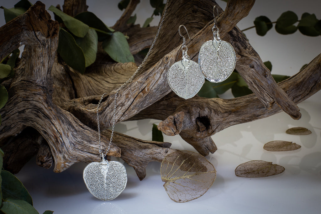 Silver Eucalyptus Apple Gum Leaf Pendant & Earrings Set