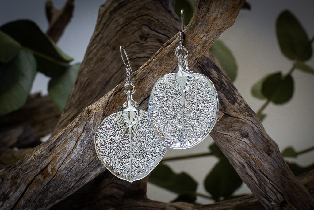 Eucalyptus Apple Gum Leaf Silver Pendant & Earrings Set