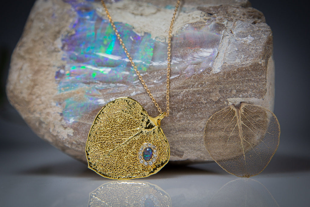 Opal & Sparkling Zirconia on Gold Eucalyptus Apple Gum Leaf Pendant