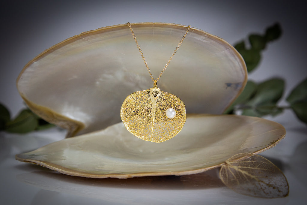 Pearls on Eucalyptus Apple Gum Leaf Gold Pendant