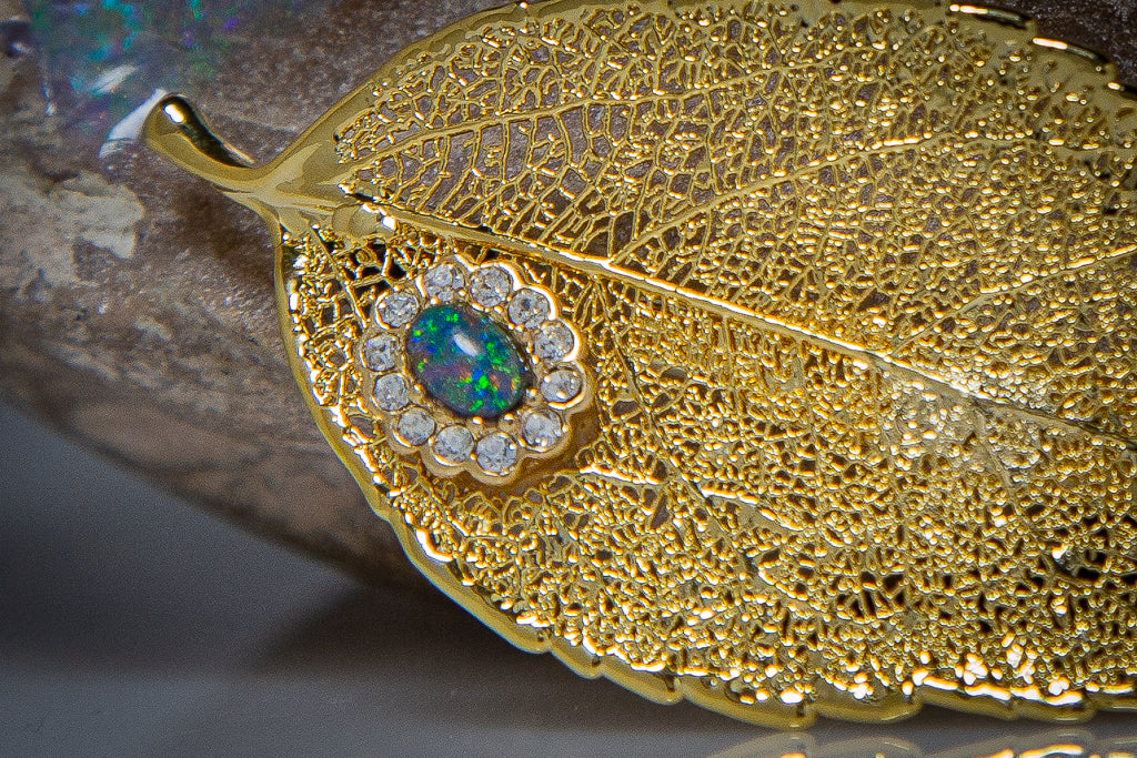 Opal & Zirconia on Eucalyptus Leaf Gold Brooch & Opal Earrings