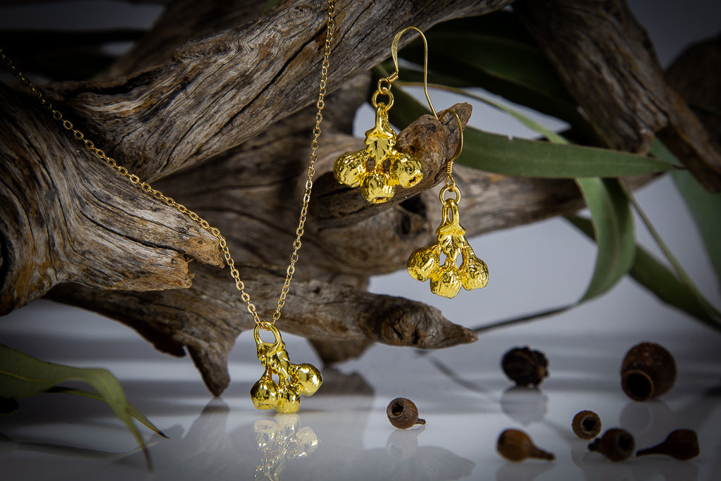 Gold Eucalyptus Mallee Gum Nut Pendant & Earrings Set