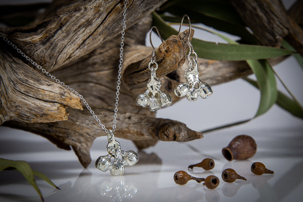 Silver Eucalyptus Mallee Gumnut Pendant & Earrings Set