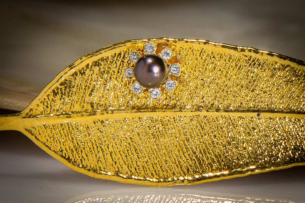 Pearls & Sparkling Zirconia on Eucalyptus Red Gum Leaf Gold Brooch