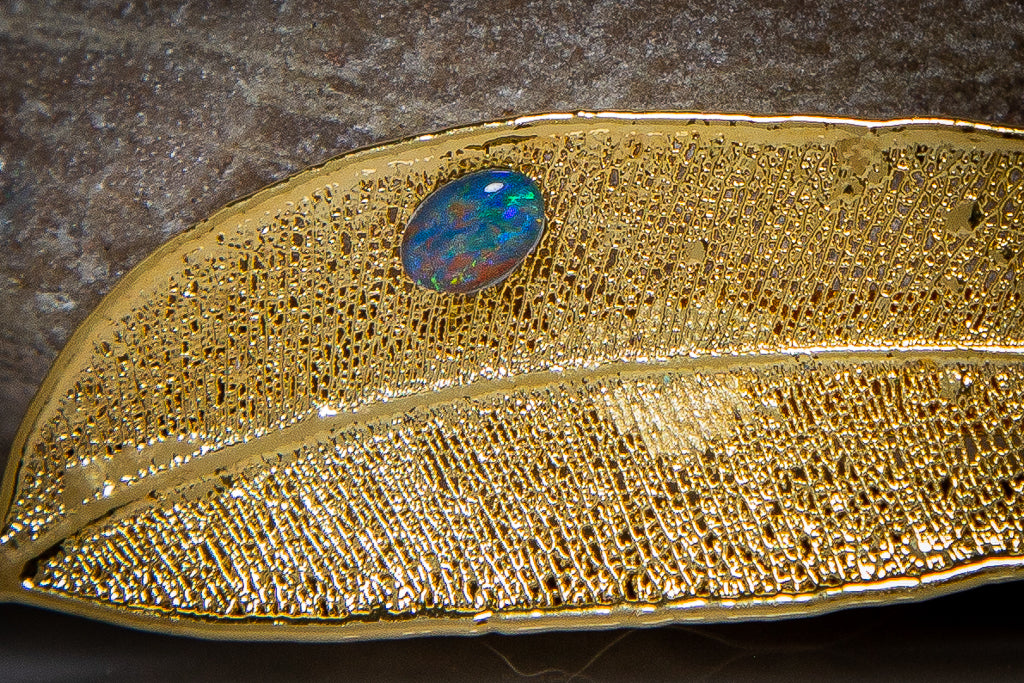 Opal on Eucalyptus Red Gum Leaf Gold Brooch