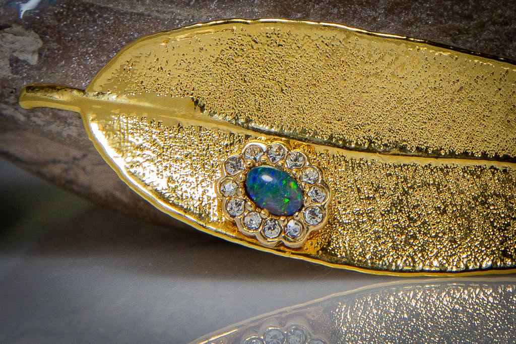 Opal & Sparkling Zirconia on Gold Eucalyptus Red Gum Leaf Brooch