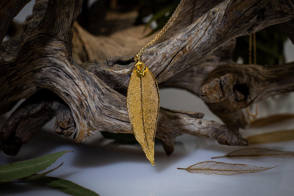 Red Gum Eucalyptus Leaf Gold Pendant