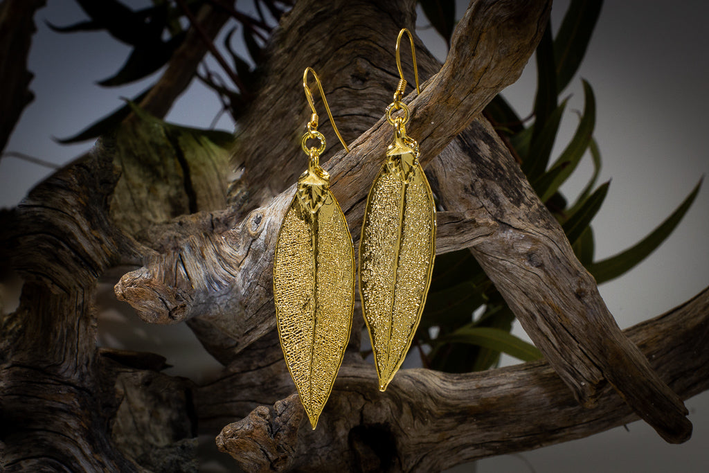 Red Gum Eucalyptus Leaf Gold Pendant & Earrings Set