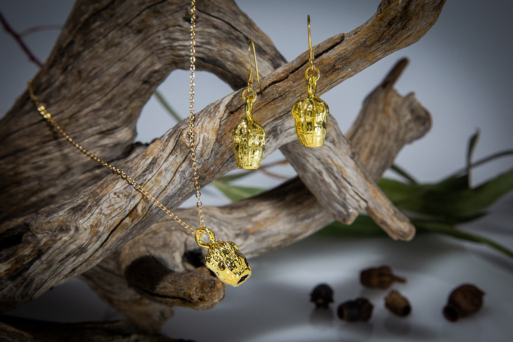 Gold Eucalyptus Scribbly Gum Nut Pendant & Earrings Set