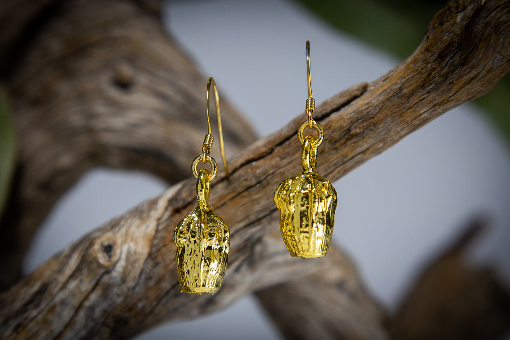 Eucalyptus Scribbly Gum Nut Gold Pendant & Earrings Set