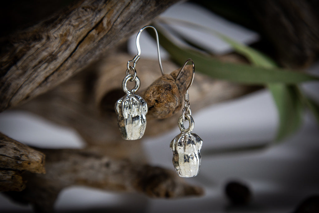 Eucalyptus Scribbly Gumnut Silver Pendant & Earrings Set