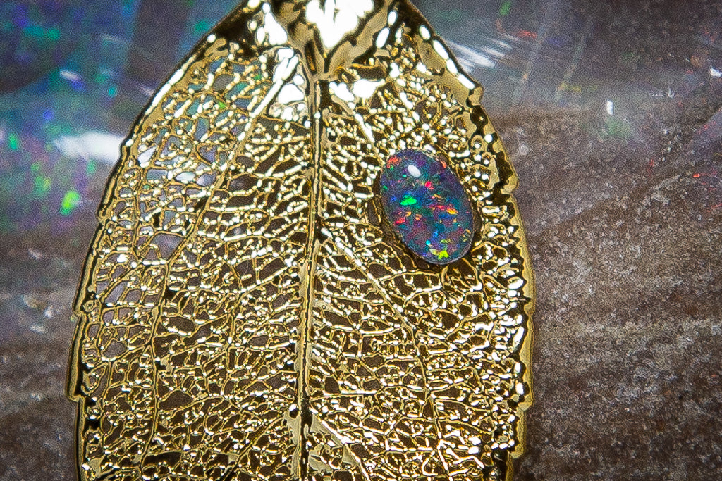 Opal on Eucalyptus Real Leaf Gold Pendant