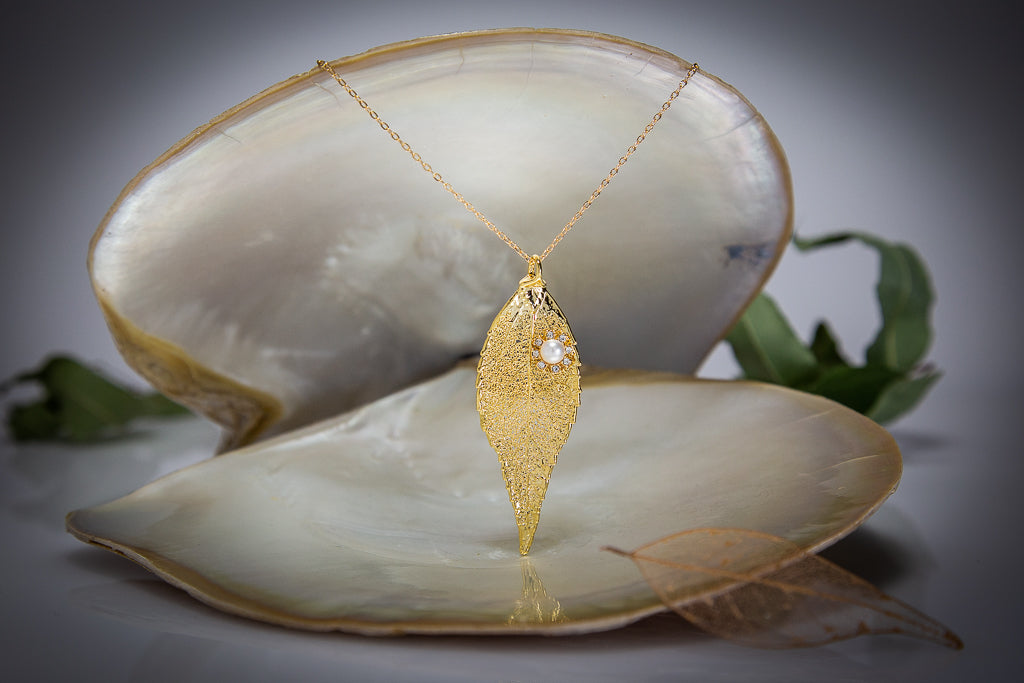 Pearl & Zironica Flower on Eucalyptus Leaf Gold Pendant & Pearl Earrings