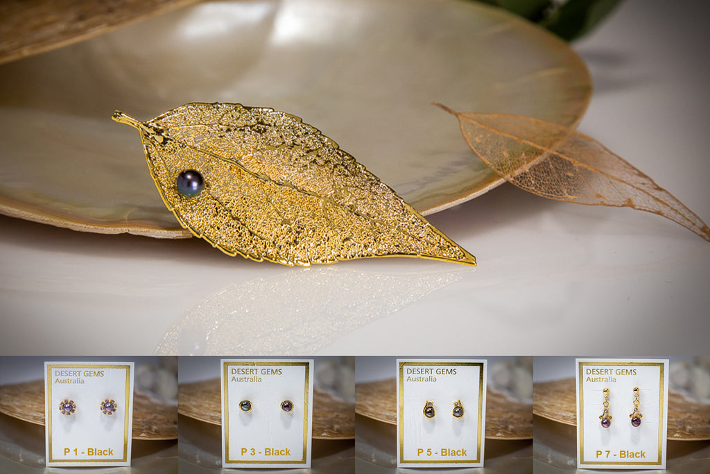 Pearl on Eucalyptus Leaf Gold Brooch & Pearl Earrings