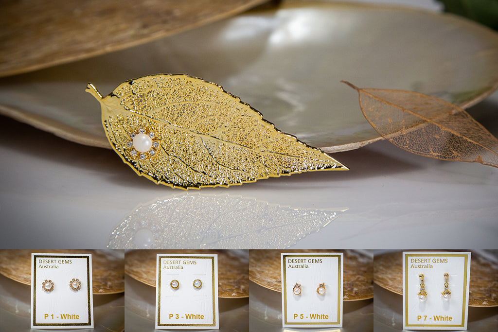 Pearl & Zirconia Flower on Eucalyptus Leaf Gold Brooch & Pearl Earrings