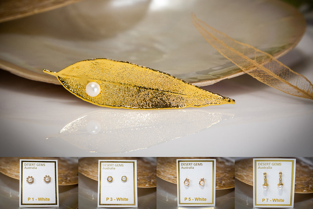 Pearl on Red Gum Eucalyptus Leaf Gold Brooch & Pearl Earrings
