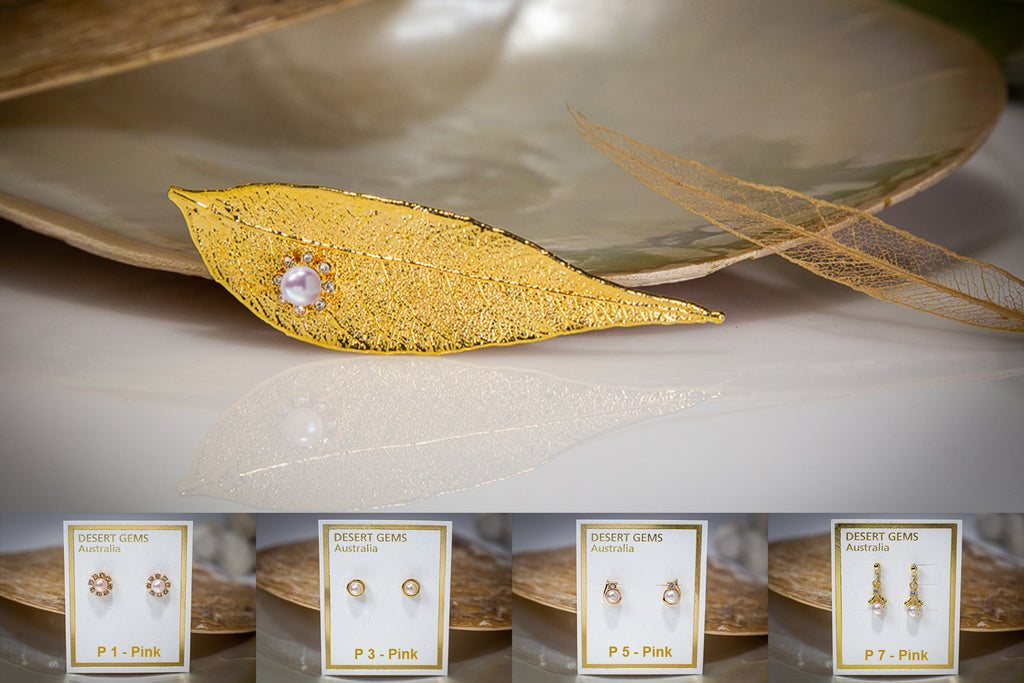 Pearl & Zirconia Flower on Red Gum Eucalyptus Leaf Gold Brooch & Pearl Earrings