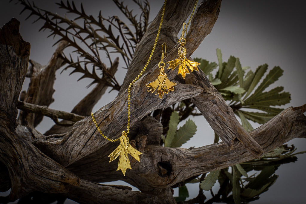 Gold Grevillea Glabrata Leaf Pendant & Earrings Set