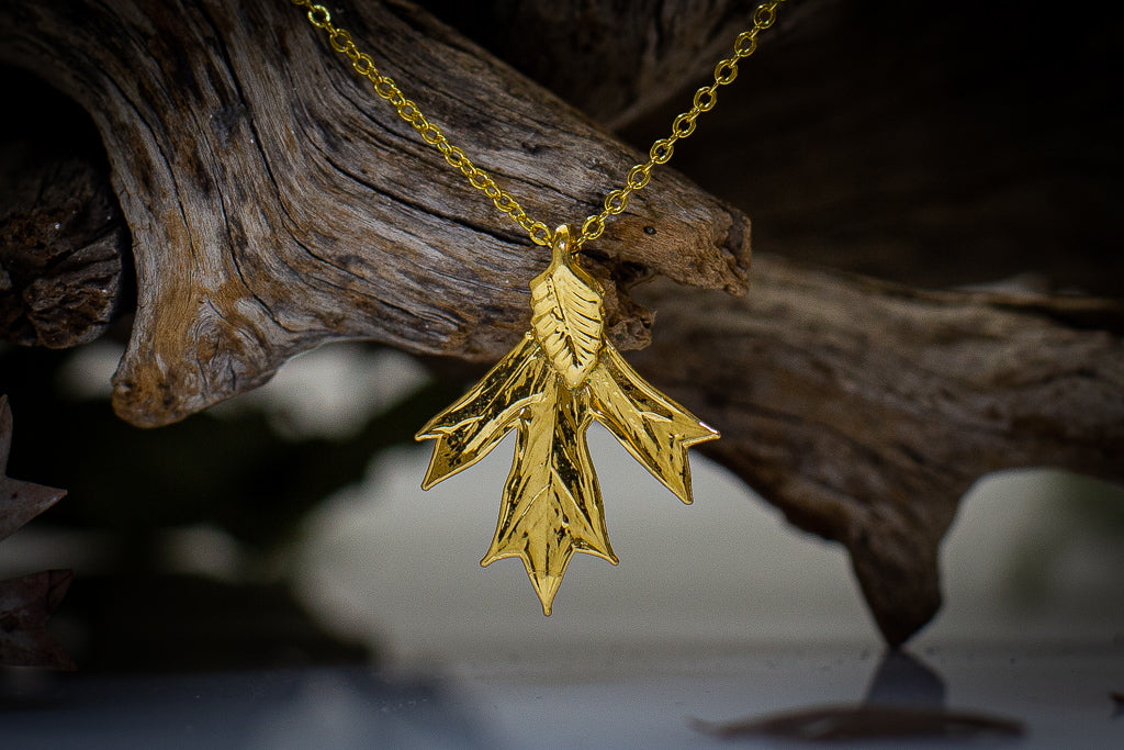 Grevillea Glabrata Leaf Gold Pendant & Earrings Set