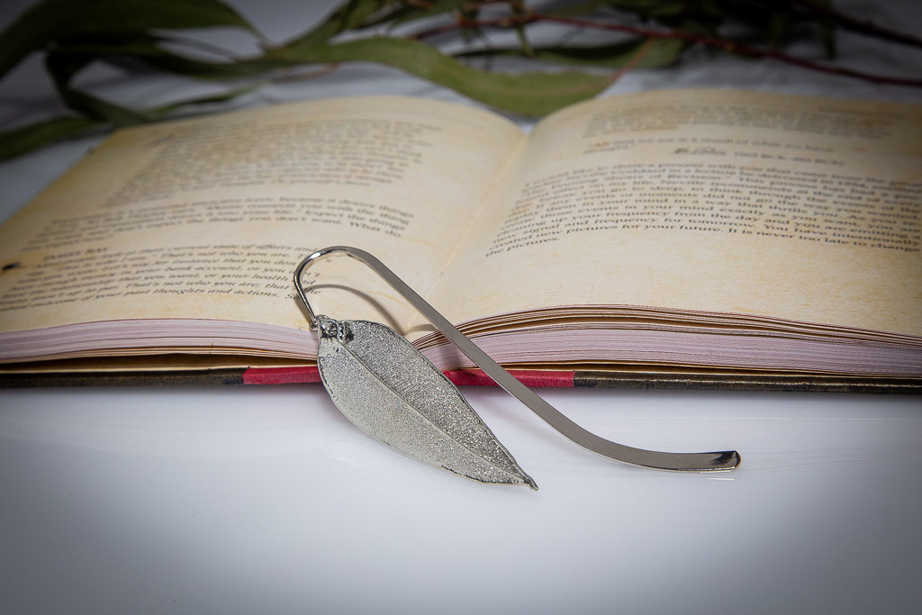 Red Gum Eucalyptus Leaf Silver Bookmark